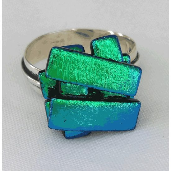 Emerald GreenJenga Ring- 925 silver