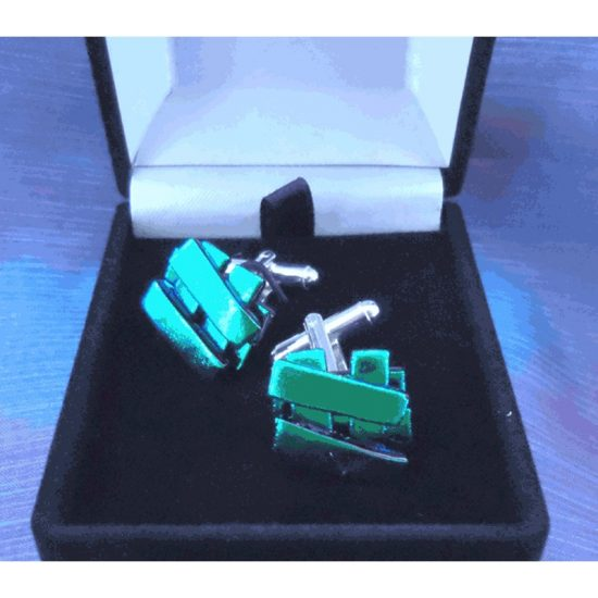 Emerald Green Cufflinks- Silver Plated