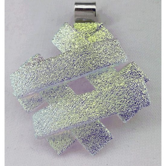 Yellow Crinkle Small Jenga Pendant - 925 Silver bail